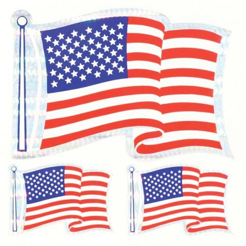 U.S.A. Flag - 3 Prism Stickers - Wavy Flag