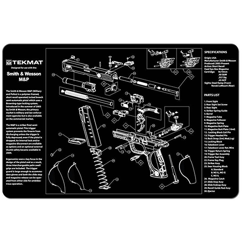"TekMat Smith & Wesson M&P Gun Cleaning Mat 11"" Wide x 17"" Long - Black"