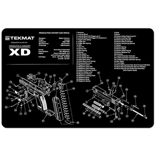 "TekMat Springfield Armory XD Gun Cleaning Mat 11"" Wide x 17"" Long - Black"