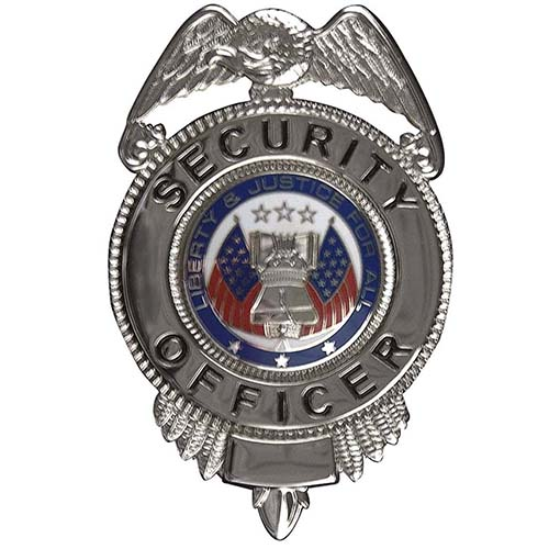 Security Officer Badge w/ Flags - Gold or Silver