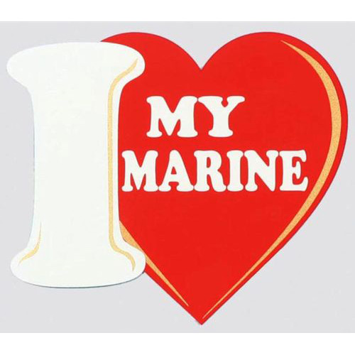 "U.S. Marines Decal - 4""x4.5"" - ""I Heart My Marine"""