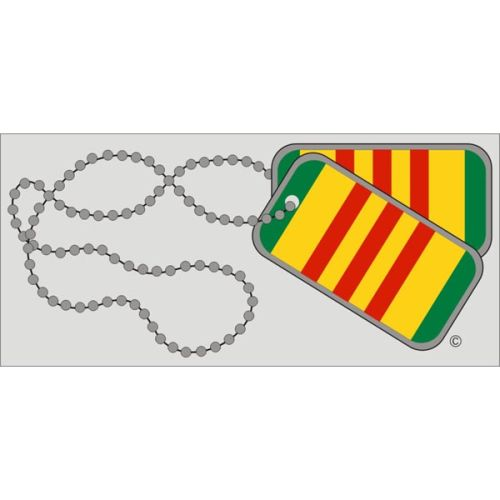 "Assorted Decal - 3"" x 6.5"" - Vietnam Dogtags"