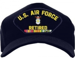 """USAF ID Ballcap - Retired """"U.S. Air Force"""" with Ribbons"""