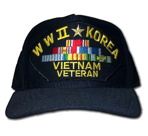 Veteran Ball Cap - WWII - Korea - Vietnam Veteran with Ribbons