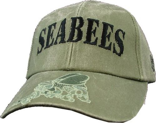 US Navy Ballcap - Seabees with Bumblebee on Brim - Olive Drab