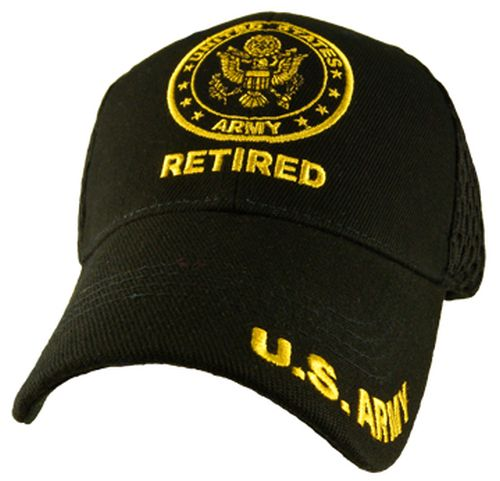 Veteran Ballcap - Retired with Army Logo Black
