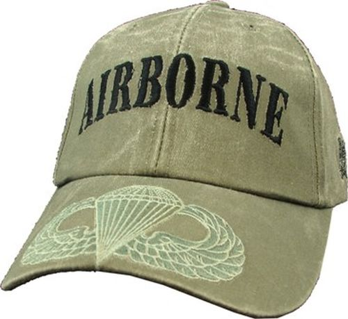 US Army Ballcap - 82nd Airborne - Wings on Brim OD