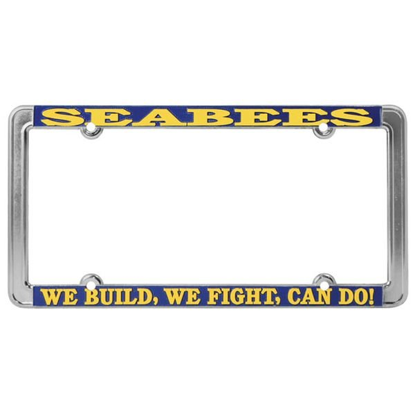 United States Navy Seabees - We Build, We Fight, Can Do - License Plate Frame