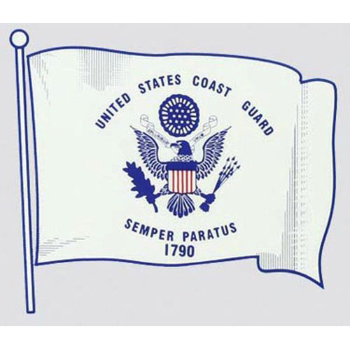 "U.S. Coast Guard Decal - 4.25"" x 5"" - ""USCG"" Flag"
