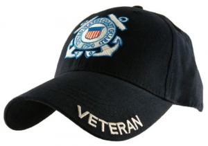 USCG Ballcap Veteran Coast Guard with Logo and Letters on Bill - Black