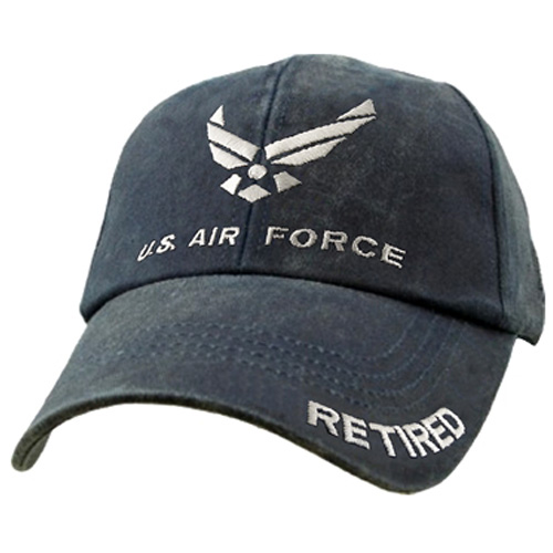USAF Ballcap Air Force Retired - Distressed Washed Dark Navy Blue