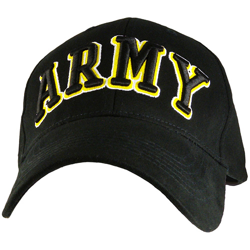 """US Army Ballcap """"ARMY"""" 3D Text Gold on Black"""