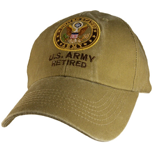 US Army Ballcap - Retired with letters and Army Seal - Khaki
