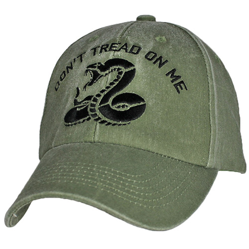 Assorted Ballcap - Don't Tread On Me - Black Embroidered on Olive Drab Cap