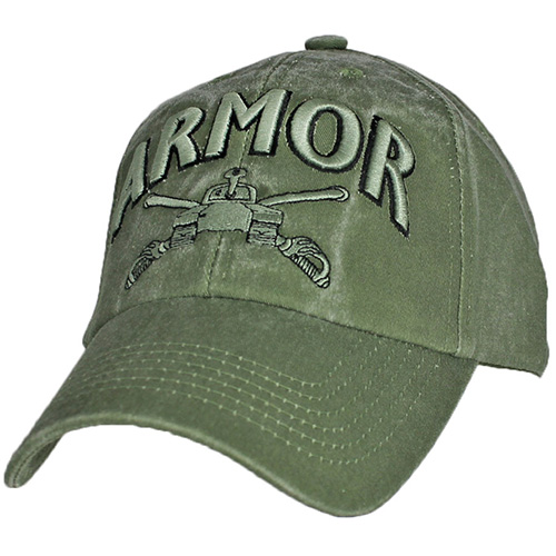 US Army Ballcap - Armor with Tankl and Crossed Swords - Olive Drab