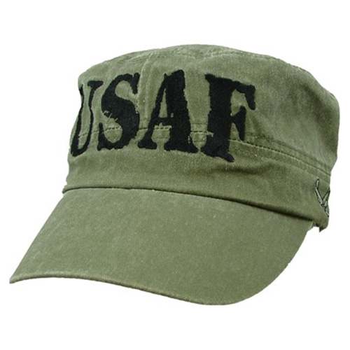 "Flattop Cap USAF Olive Drab (OD) with Letters ""USAF"""