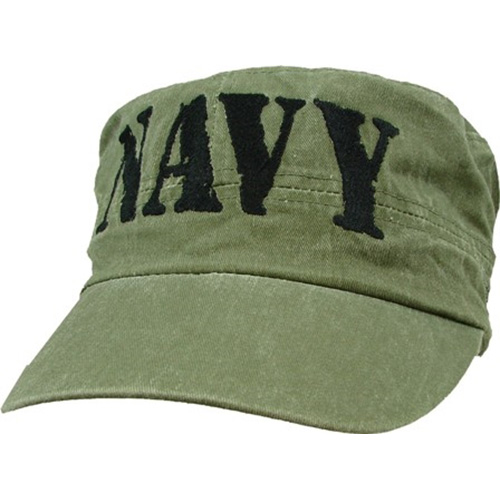 US Navy Flattop Cap - Patrol Cap with NAVY Letters - Olive Drab
