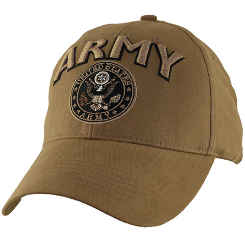 US Army Ballcap - ARMY Letter in 3D with Army Seal - Coyote