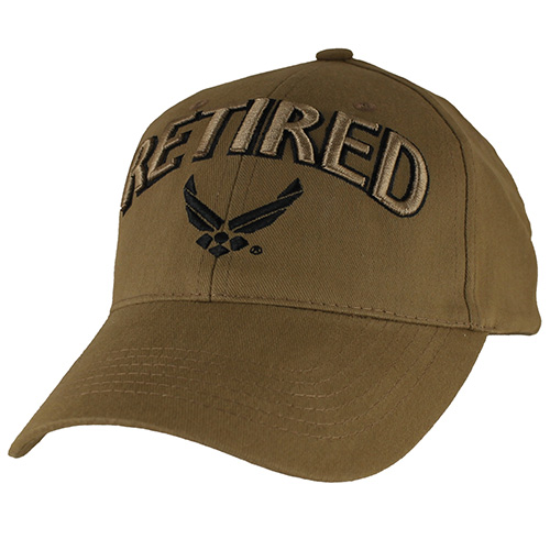 USAF Ballcap -Retired Air Force with Wings Logo Coyote Brown