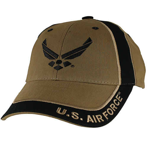 USAF Ballcap - Air Force Wings in 2-Tone - Letters on Brim - Coyote Brown