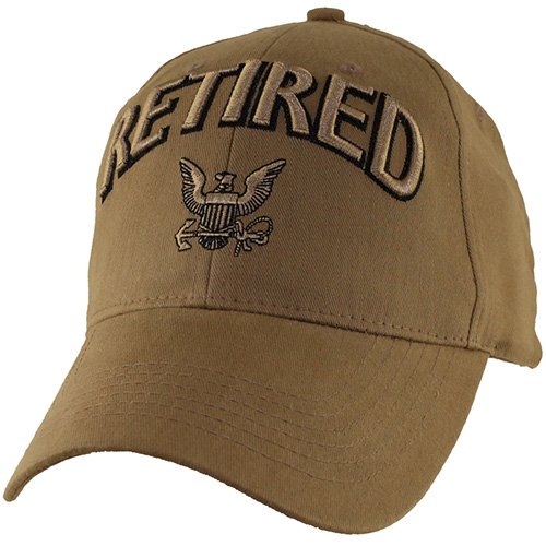 US Navy Ballcap - Retired with Logo - Coyote Brown