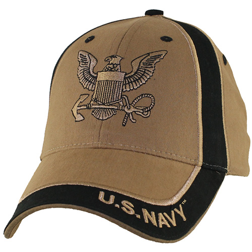 US Navy Ballcap - Logo with Letters on brim - Coyote Brown