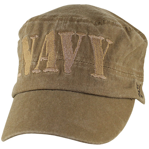 US Navy Flattop Cap - NAVY letters embroidered - Coyote Brown