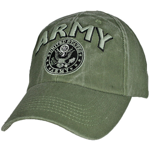 US Army Ballcap - ARMY 3D letters embroidered with Seal - Olive Drab