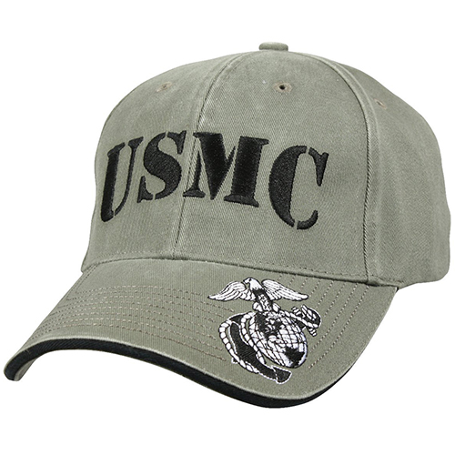 USMC Ballcap Vintage Deluxe Embroidered with Low Profile - Olive Drab