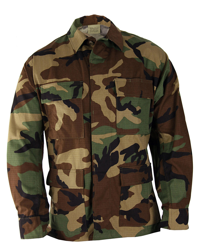 BDU Shirt - Woodland Camo - 100% Cotton Ripstop