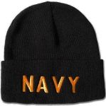 USN Watchcap - Gold on Black cap