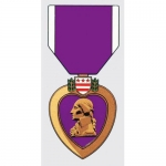 "Assorted Decal - 5.5"" x 2.5"" - Purple Heart Medal"