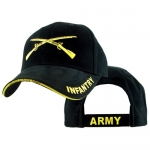 US Army Ballcap Infantry with Crossed Rifles - Gold on Black