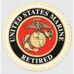 "U.S. Marines Decal - 4"" Round - USMC Retired"