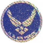 "U.S. Air Force Decal - 3"" Round - USAF Glitter"