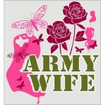 "U.S. Army Decal - 3.6"" x 3.25"" - ""Army Wife"" Roses"