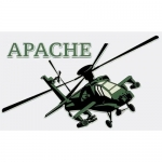 "U.S. Army Decal - 3.75"" x 5.75"" - ""Apache"" Chopper"