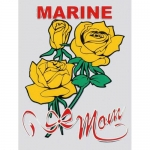 "U.S. Marines Decal - 3"" x 4"" ""USMC Mom w/ Roses"""
