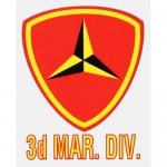 "U.S. Marines Decal - 3"" x 4"" - ""3d Mar. Div."" Ins"