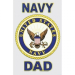 "U.S. Navy Decal - 3"" x 4"" - ""Navy Dad"" w/Shield"