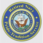 "U.S. Navy Decal - 4"" - Retired Navy"