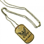 United States Navy Bronze Dog Tag and Chain
