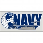 "U.S. Navy Decal - 6"" x 2.6"" - USN Ship and Globe"