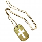 Cross Bronze Dog Tag