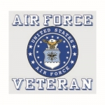 "U.S. Air Force Decal - 3.5"" x 3.25"" - Vet w/Crest"