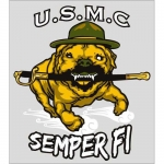 "U.S. Marines Decal - 4.25"" x 4.75"" - Run Bulldog"