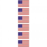 "U.S.A. Flag Decals - 1"" x 1.75"" - 6 Vinyl Stickers"