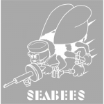 "U.S. Navy Decal - 13"" Square - Seabee Transparent"