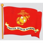"U.S. Marines Decal - 4.5"" x 4"" - USMC Flag Wavy"