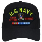 US Navy ID Ballcap - Veteran Korea with Dates and Ribbons - Navy Blue